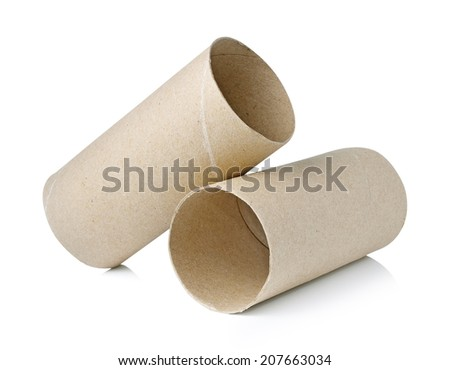Paper roll of bathroom isolated on white background - stock photo