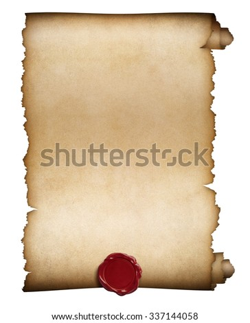 paper roll or manuscript with wax seal isolated - stock photo