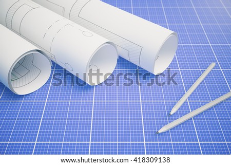 Paper rolls with architectural plan and pencils on blueprint pattern background. 3D Rendering - stock photo