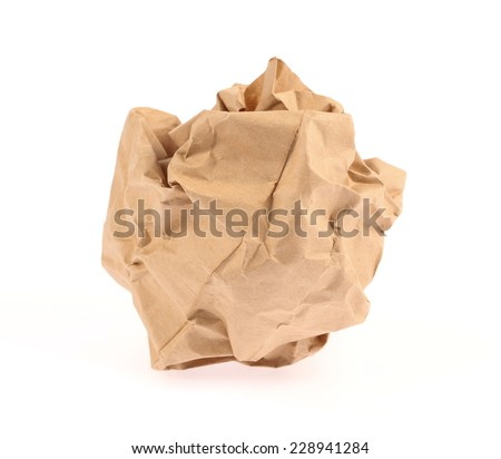 Paper rubbish isolated on white background