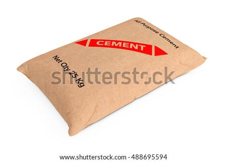 Paper Sacks Cement Bag on a white background. 3d Rendering