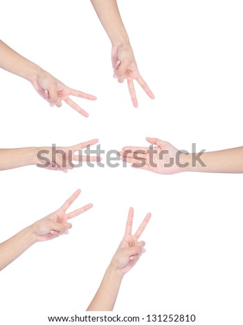 Paper Scissors hand game set isolated on white background.