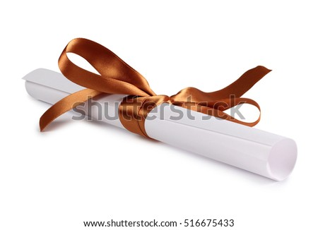 Paper scroll and bow on a white background