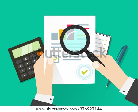 Paper sheet, hands, magnifier, paperwork, consultant, business adviser financial audit, auditing tax process, big data analysis, seo analytics, financial research report, market stats calculate image - stock photo