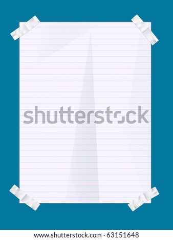 Paper sheet illustration with four stickers in the corners against a blue background. - stock photo