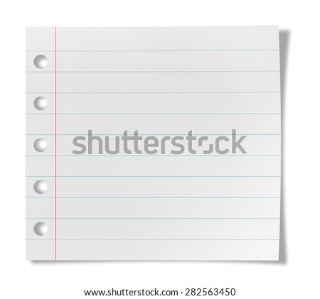 Paper sheet with stripes isolated on  white