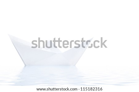 Paper ship in water with reflection isolated on white background