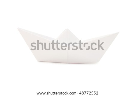 Paper ship isolated on white background - stock photo