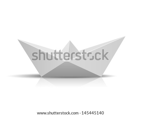 Paper Ship isolated on white background. See also vector version
