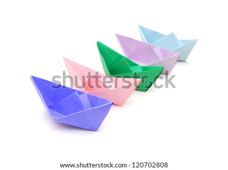paper ships on white - stock photo
