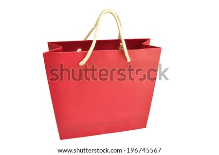Paper shopping bag on white background with clipping Path