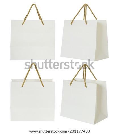 Paper shopping bag set - stock photo