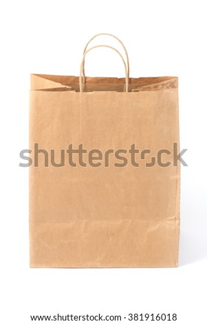 Paper shopping bag with handle, isolated
