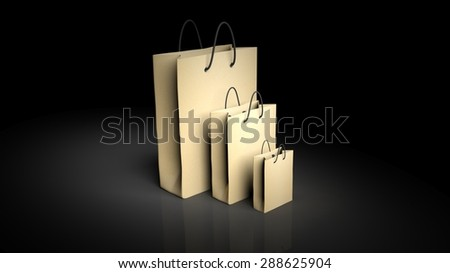Paper shopping bags isolated on black background - stock photo
