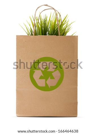 Paper shopping eco bag with green grass isolated over white background. - stock photo
