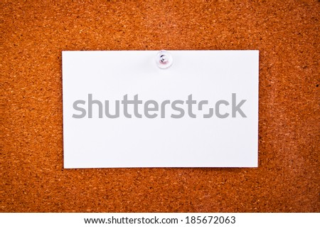 Paper Short Note pin on Wooden Cork Board / write down your text here, background and texture.