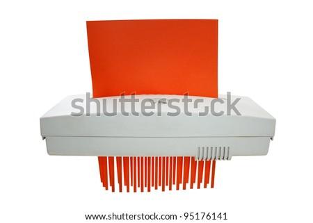 Paper shredder machine isolated on white background - stock photo