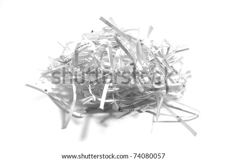 Paper Shreddings on White Background