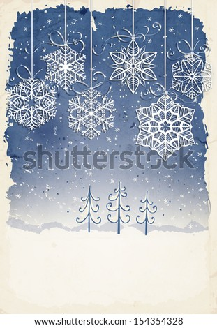 Paper snowflakes with bows on winter background with hand -drawn fir trees and falling snow, grunge frame, old paper texture