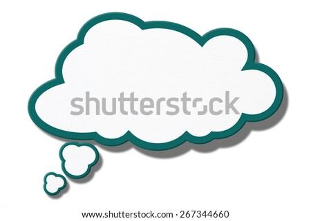 Paper speech bubble isolated on white(Clipping Path) - stock photo
