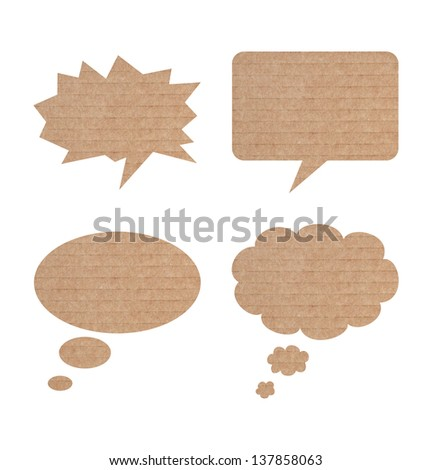 Paper speech bubbles- round isolated on white background