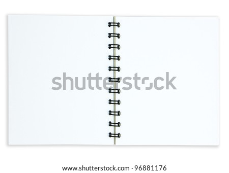 Paper spiral notebook on white
