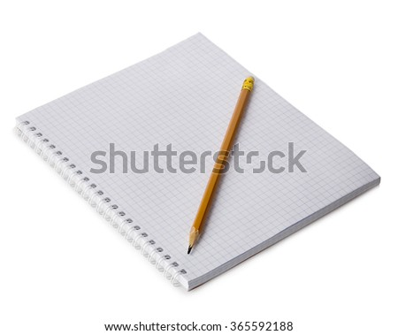 Paper spiral notebook with a pencil close-up isolated on a white background. Blank background. - stock photo
