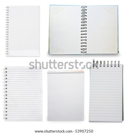 paper spiral notebooks isolated on white - stock photo