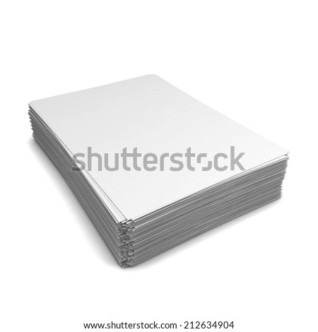 Paper stack. 3d illustration isolated on white background