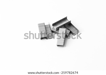 Paper staples isolated on white background. - stock photo