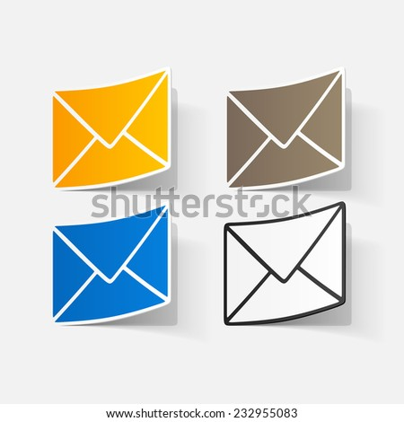 paper sticker: collection of various Envelope white paper. Isolated illustration icon
