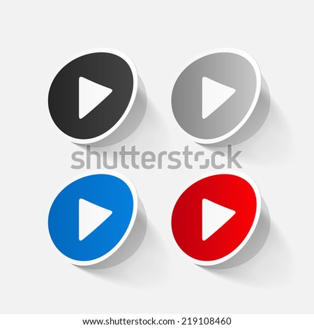 paper sticker: Play button web icon. Isolated illustration icon - stock photo