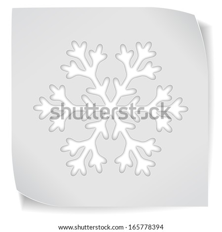 Paper sticker with snowflake isolated on white. Raster version of the illustration.