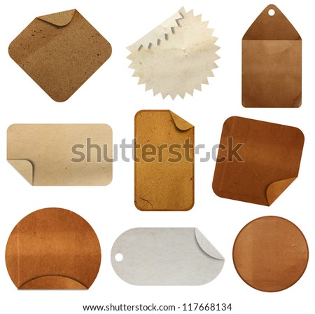 paper tag isolated on white background ( Objects with Clipping Paths for design work ) - stock photo