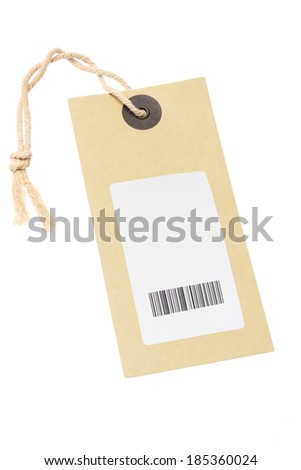 Paper Tag With Bar Code Sticker On White Background - stock photo