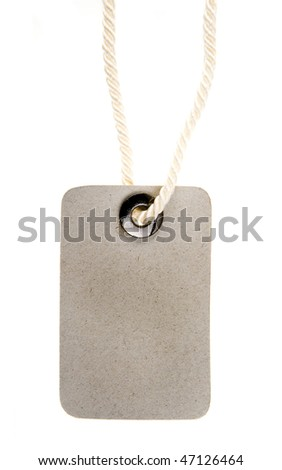 paper tag with metal grommet isolated on white background - stock photo