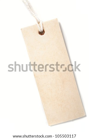 paper tag with rope isolate on white background