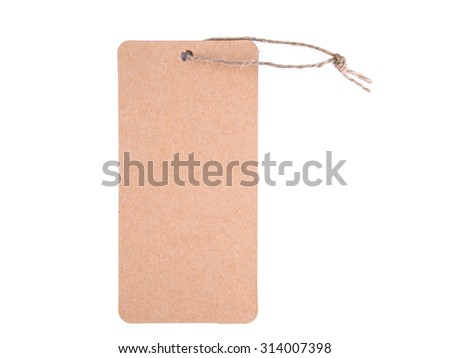 paper tag with string isolated on white background