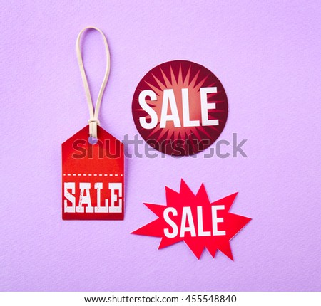 Paper tags sale concept. Flat lay