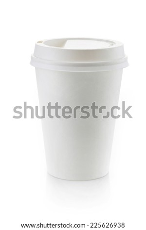 Paper take away coffee cup isolated on a white background
