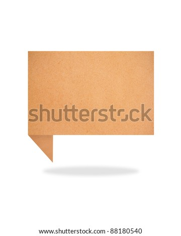 paper talk origami recycled paper-craft on white background - stock photo
