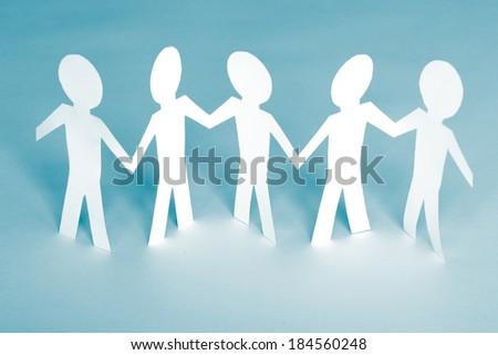 paper team. friendship concept. studio shot - stock photo