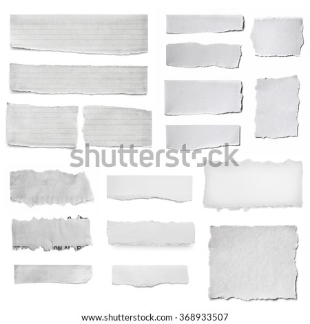 Paper tears collection, isolated on white.  Torn pieces, isolated on white.