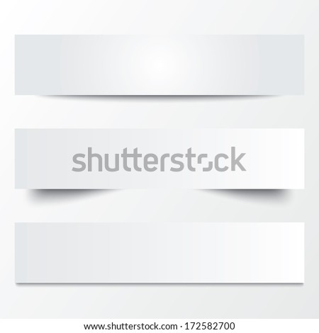 Paper templates. Collection of white note papers with shadows. Paper separators, dividers. Page delimiters.  illustration. - stock photo