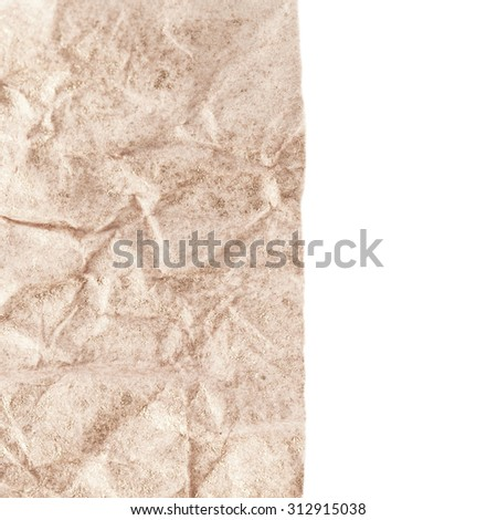 Paper texture - brown paper sheet isolated. Textured crumpled paper - stock photo