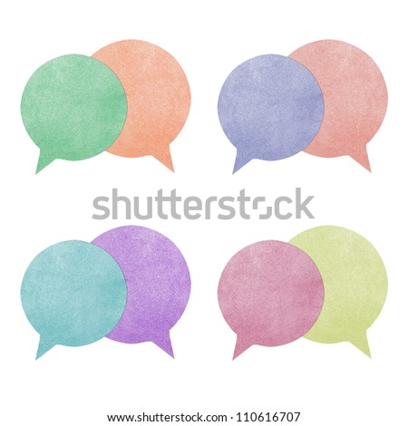 Paper texture ,bubble talk tag on white background