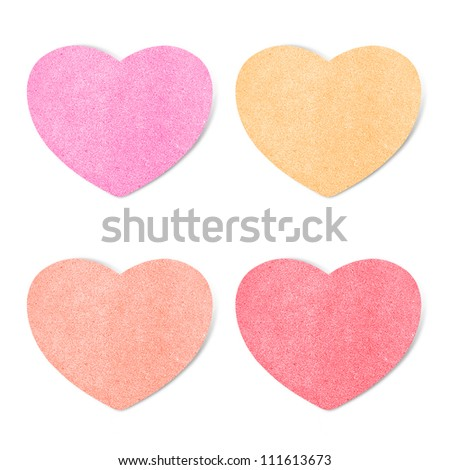 Paper texture ,heart on white background