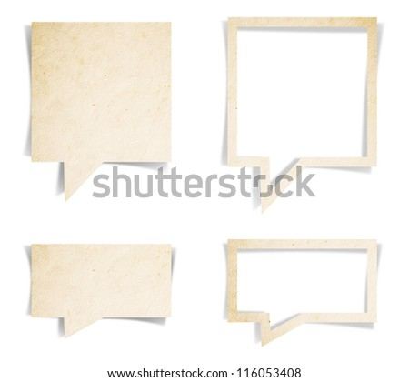 Paper texture of speech bubbles, craft stick on white background ( Save paths for design work )