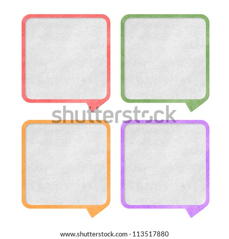 Paper texture ,Talk tag on white background - stock photo