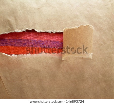 Paper texture torn with cotton frame - stock photo
